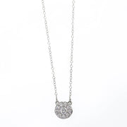 14K White Gold Round Diamond Pendant