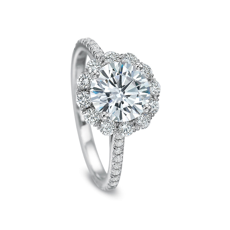 18K White Gold Vintage Style Halo Setting