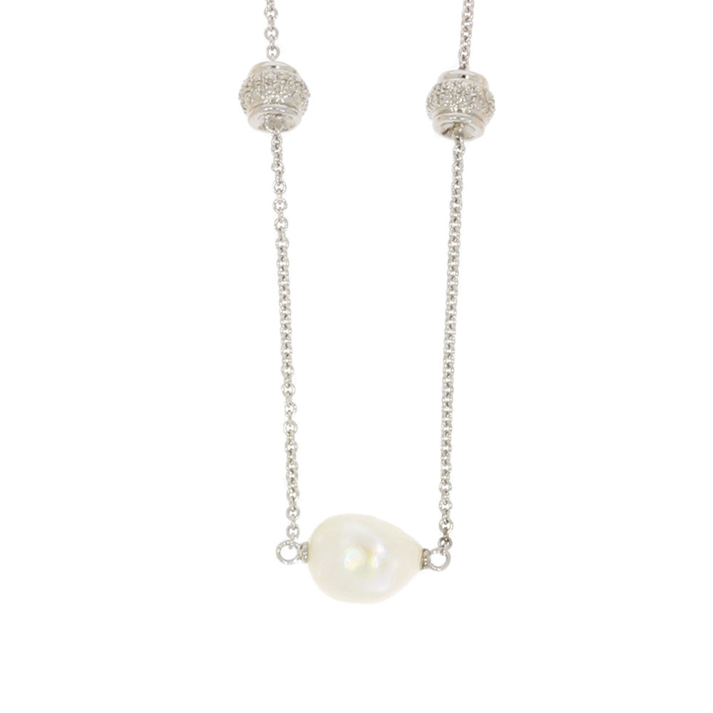 Sterling Silver Spaced Pearl Necklace