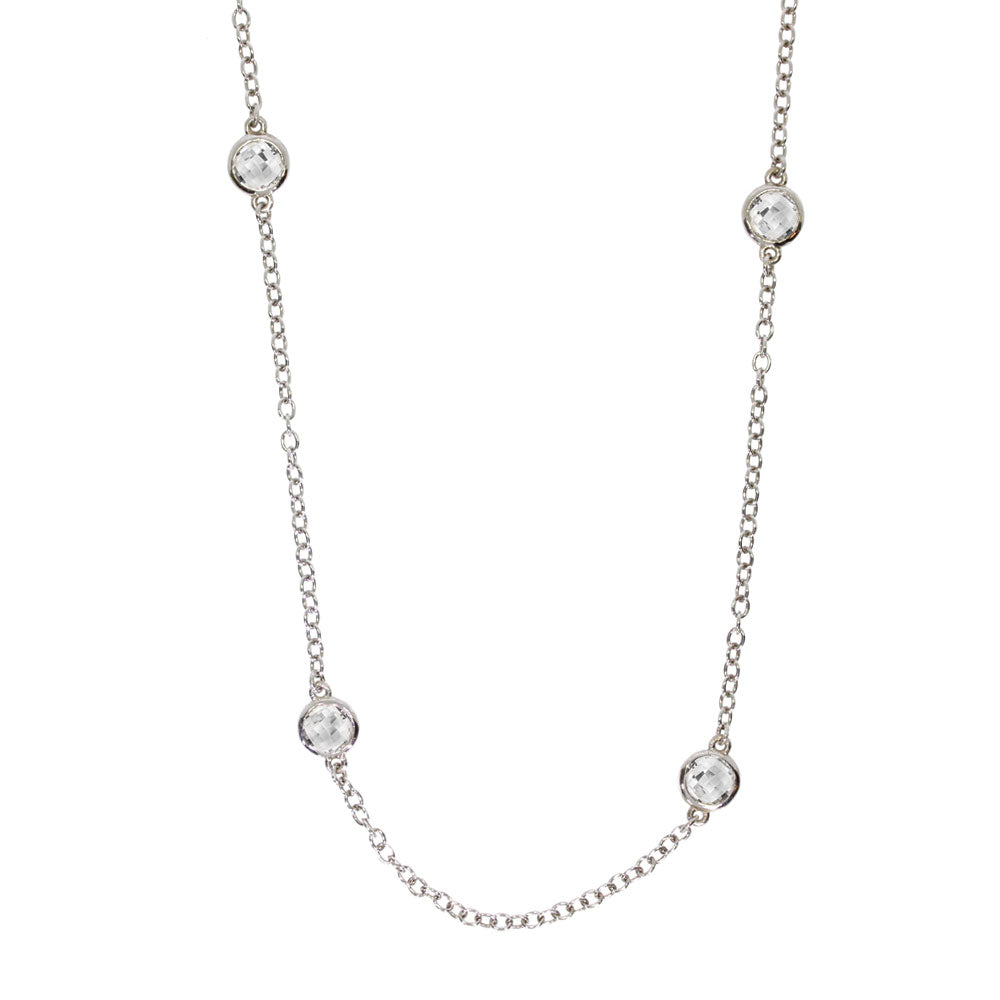 Sterling Silver White Topaz Bezel Set Necklace