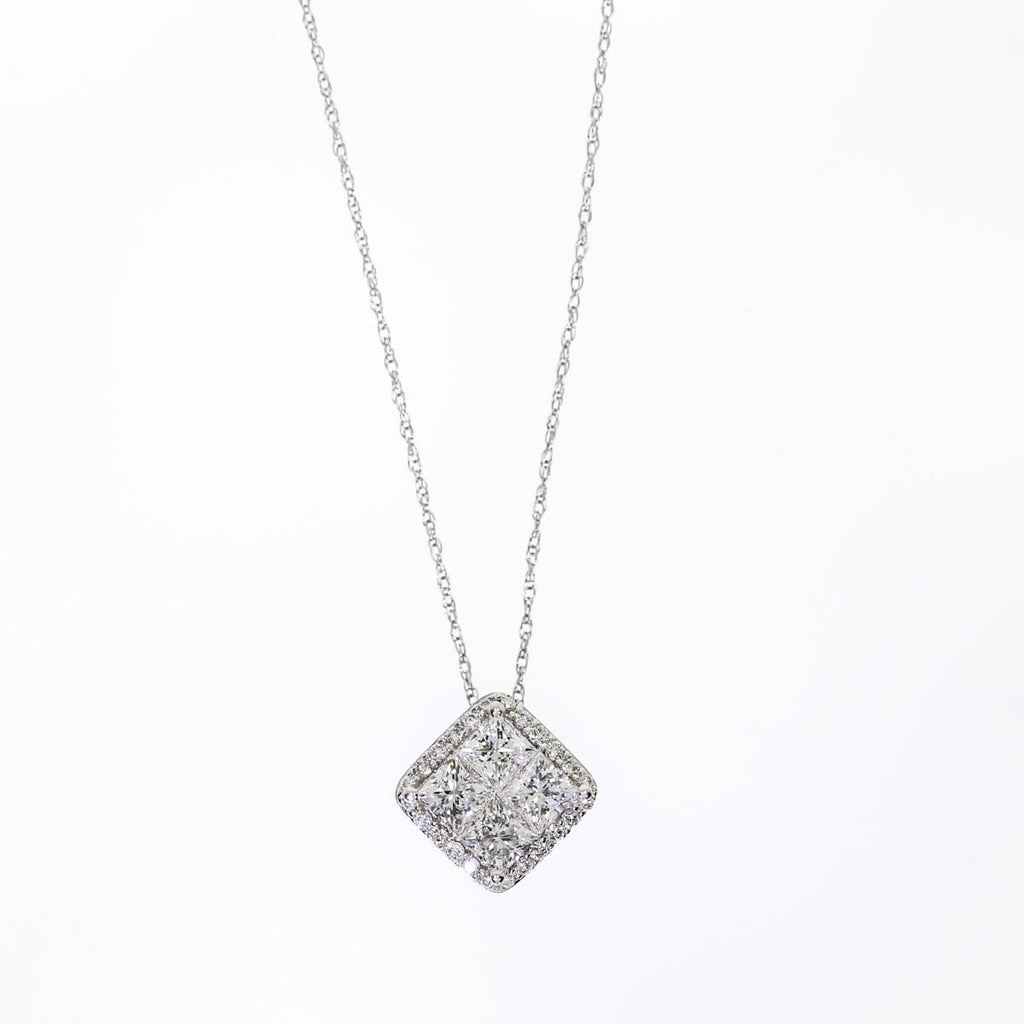 14K White Gold Diamond Prong Necklace