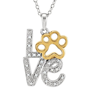 Diamond Paw Love Pendant