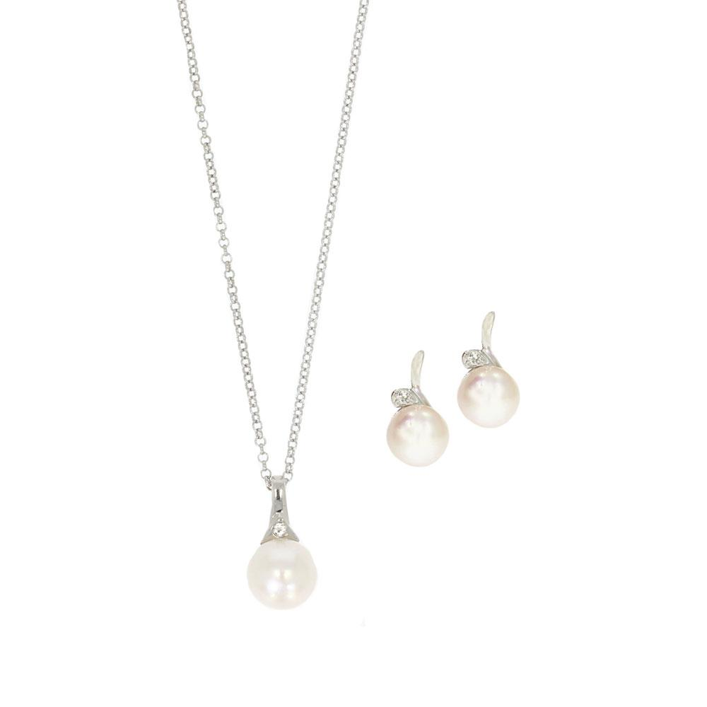 Akoya Pearl Pendant & Earrings Set