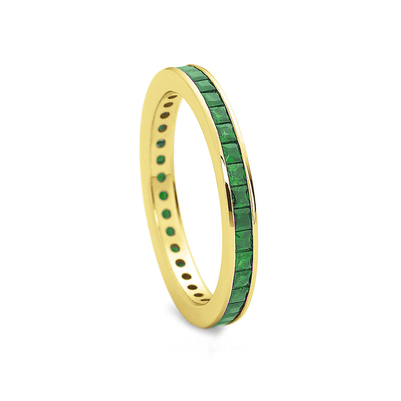 18K Yellow Gold Green Emerald Band