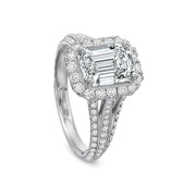 18K White Gold Tri Split Shank Setting
