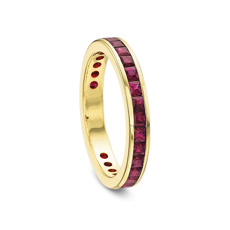 18K Yellow Gold Red Ruby Band