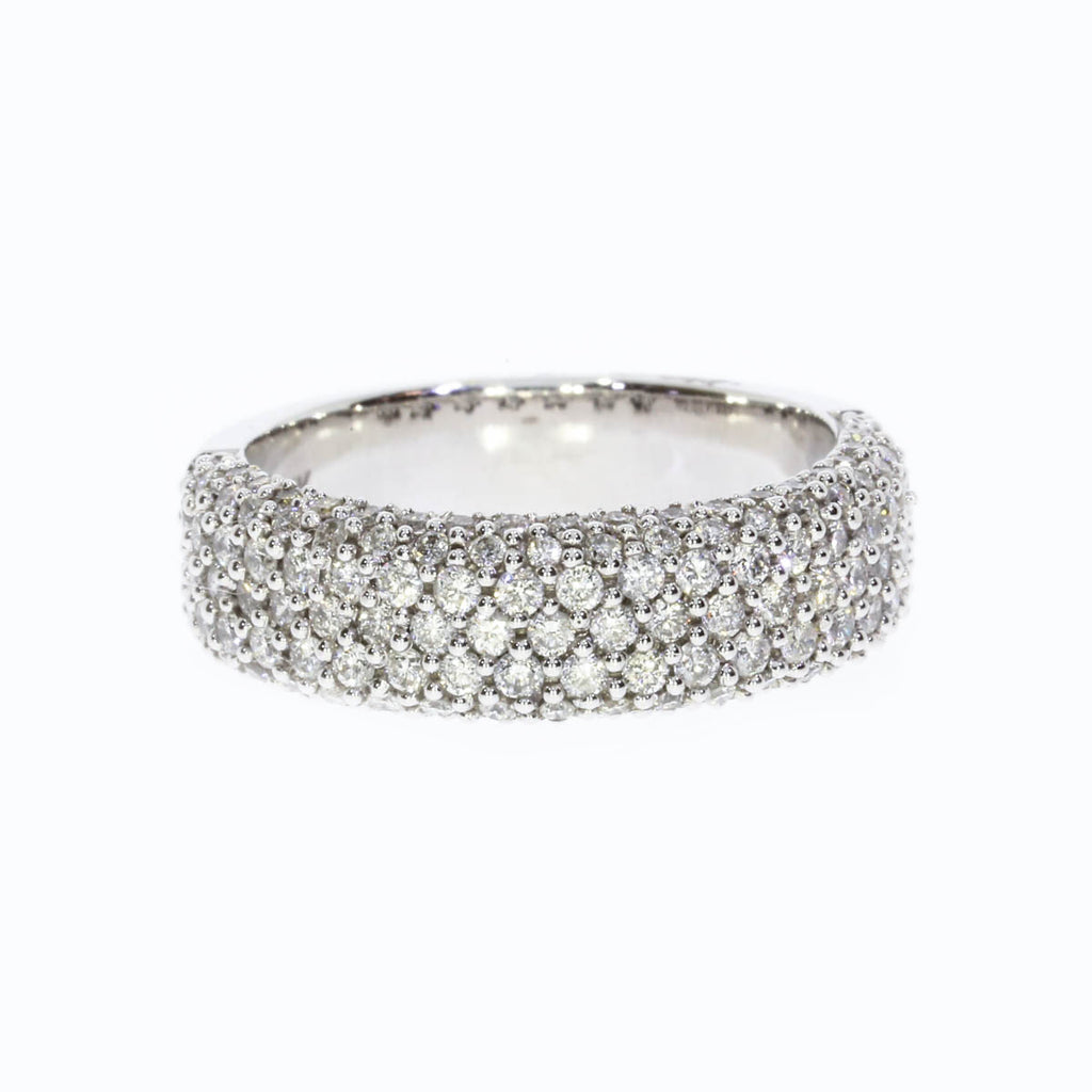 14K White Gold Modern Pave Band