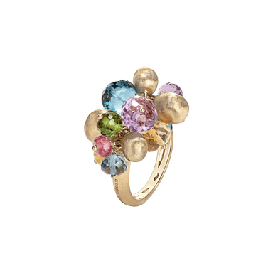 Golden Boules and Mixed Gemstone Africa Cocktail Ring