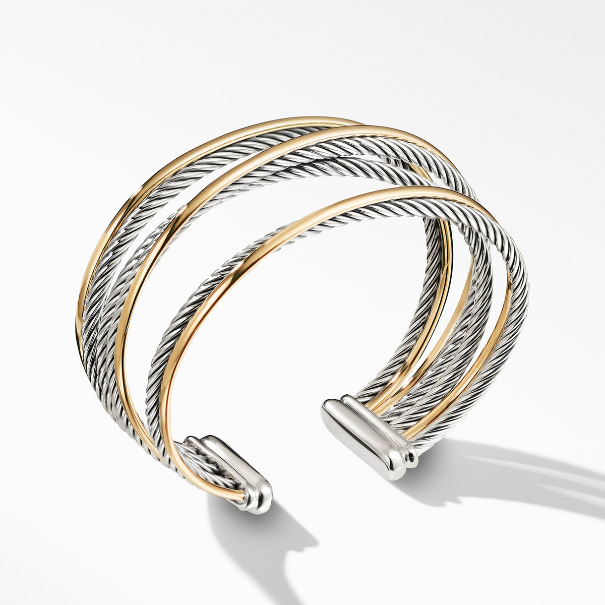 Four-Row Cuff Bracelet with Gold