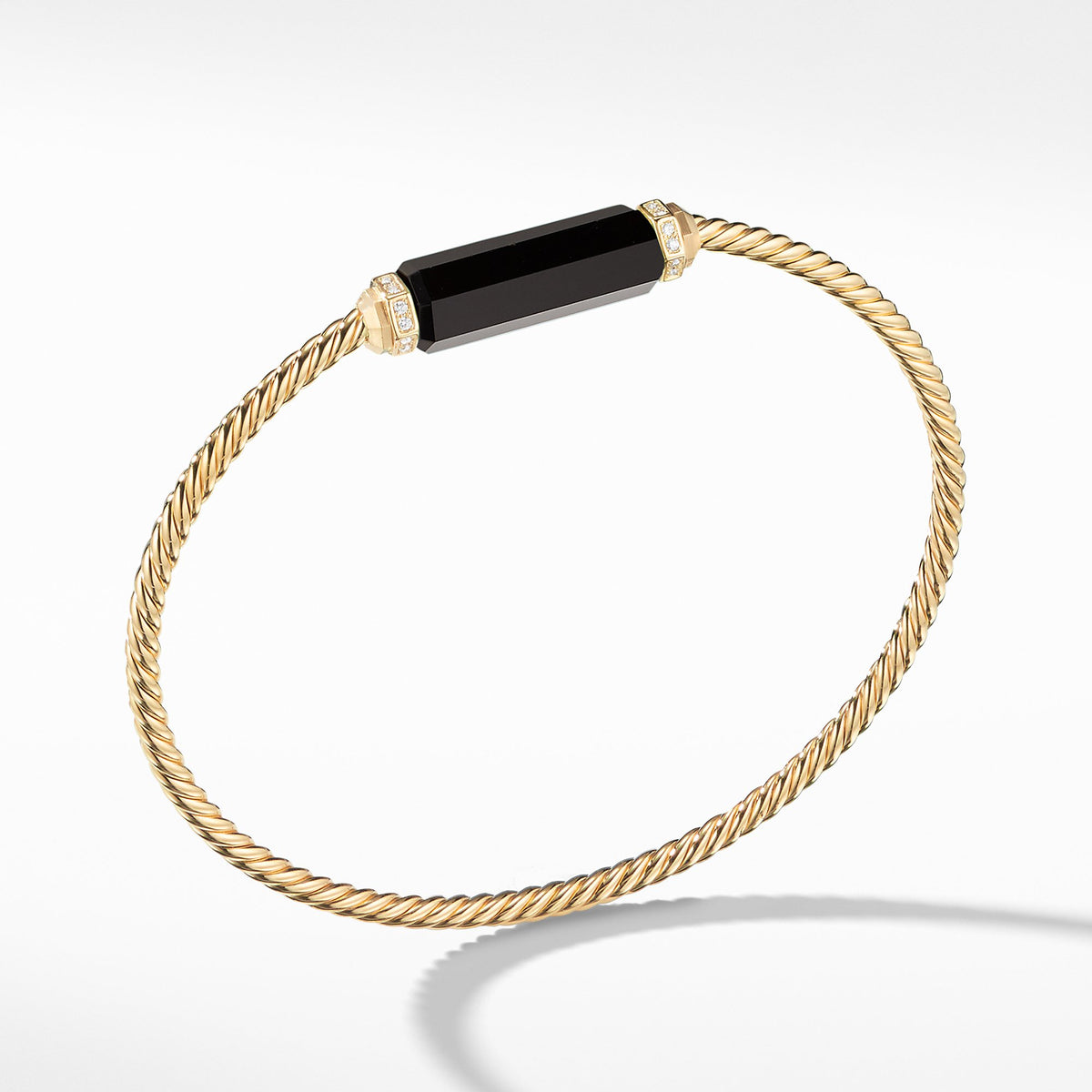 Barrels Bracelet with Diamonds and Black Onyx in 18K Gold