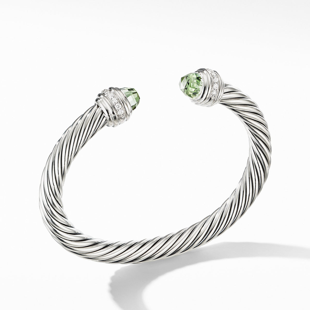 Cable Bracelet with Prasiolite and Diamonds