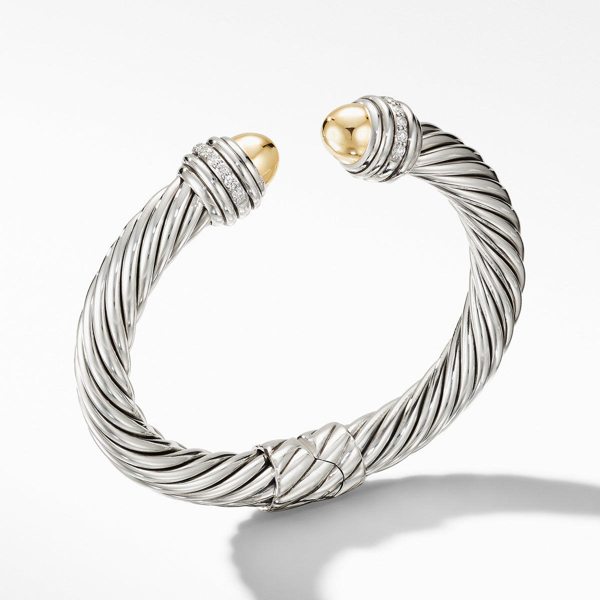 Cable Bracelet with 18K Yellow Gold Domes and Diamonds