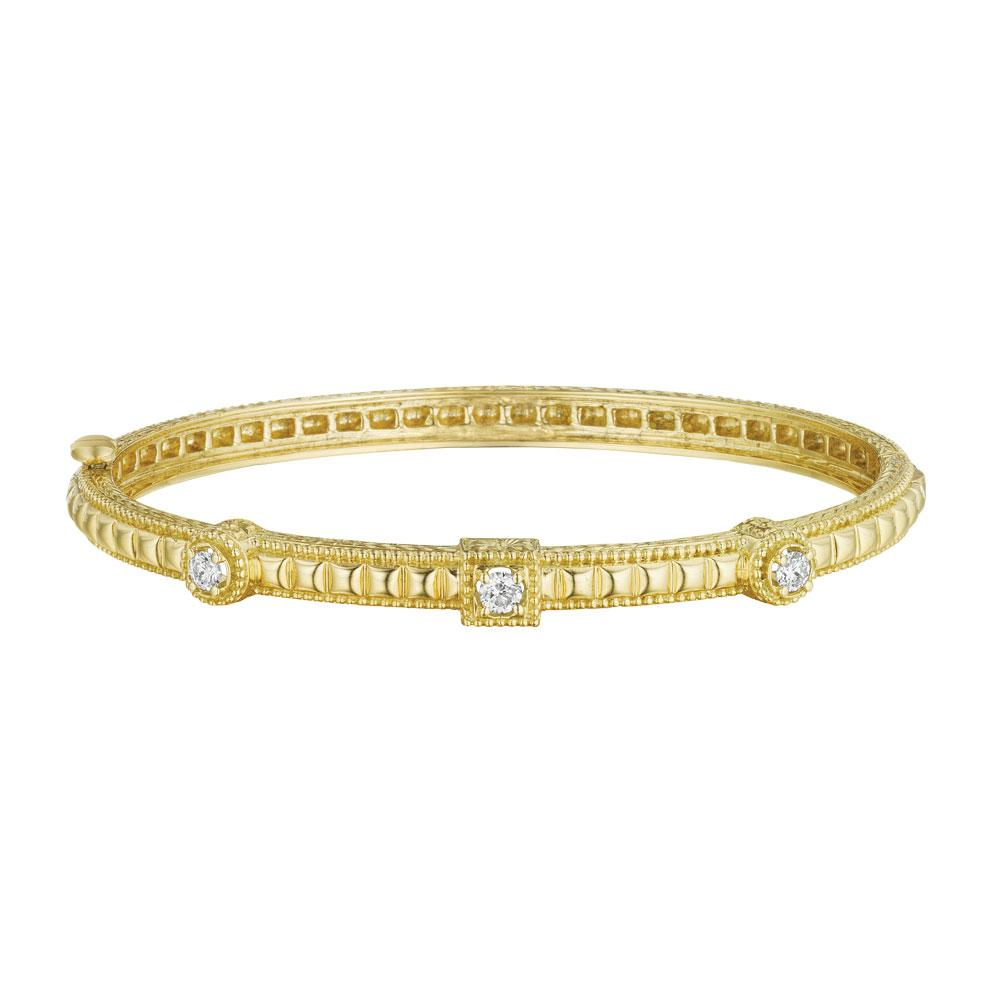 18K Yellow Gold Square & Round Engraved Bangle