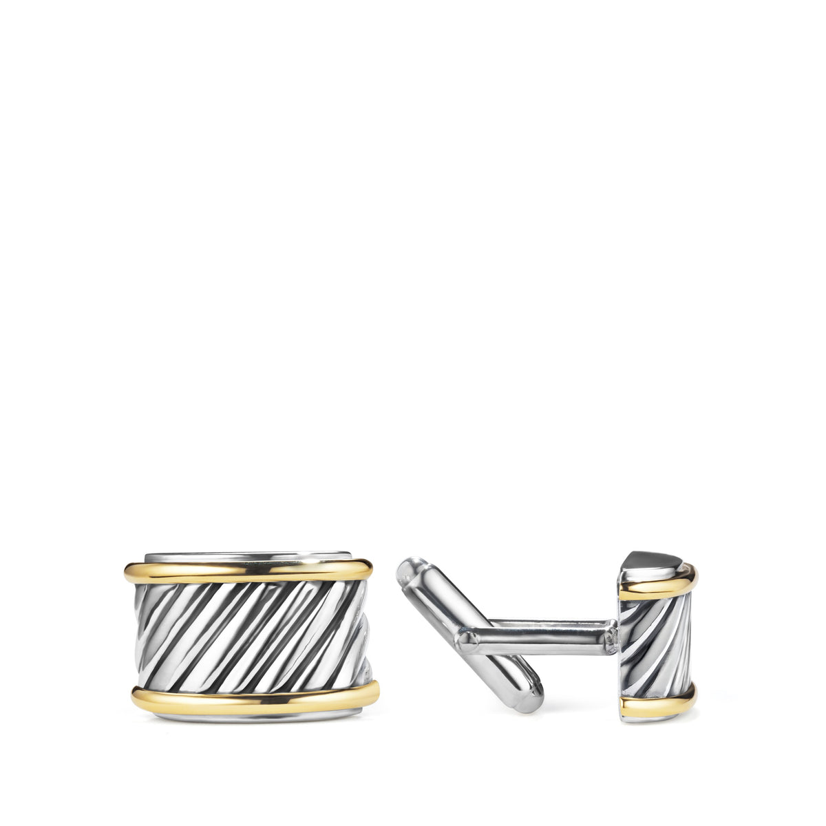Cable Cigar Band Cufflinks with 14K Gold