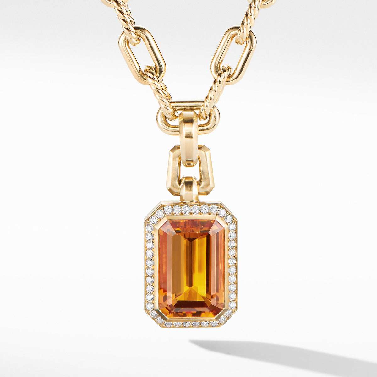 Novella Pendant in 18K Yellow Gold with Madeira Citrine and Diamonds
