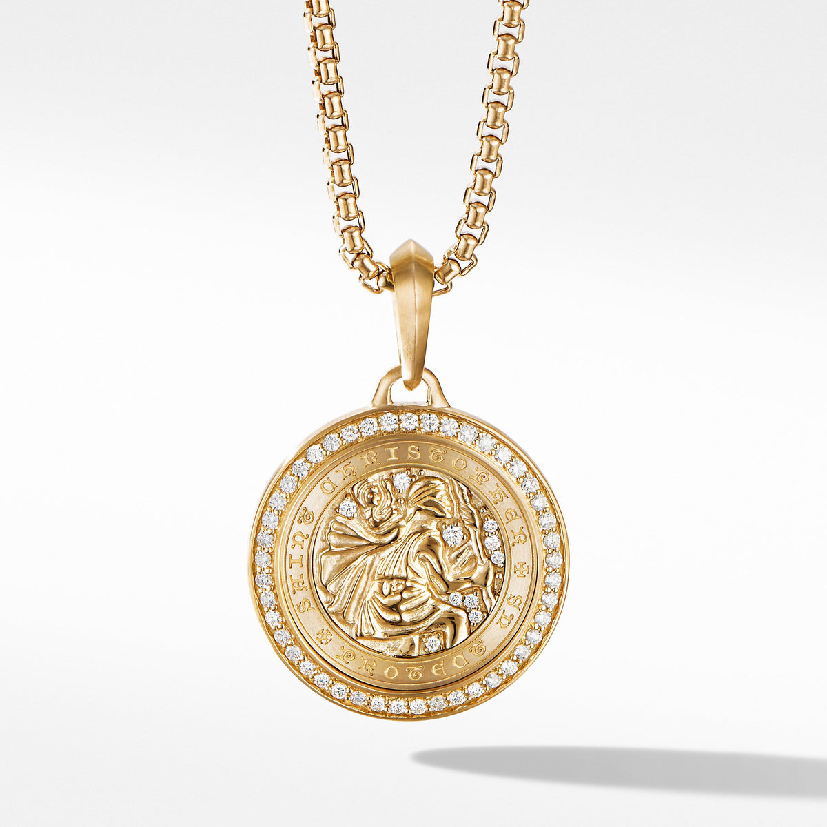 St. Christopher Amulet in 18K Yellow Gold with Pave Diamonds
