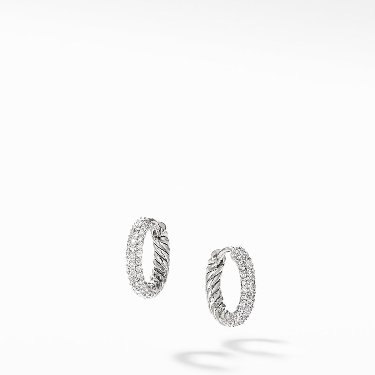 Petite Pave Hoop Earrings with Diamonds