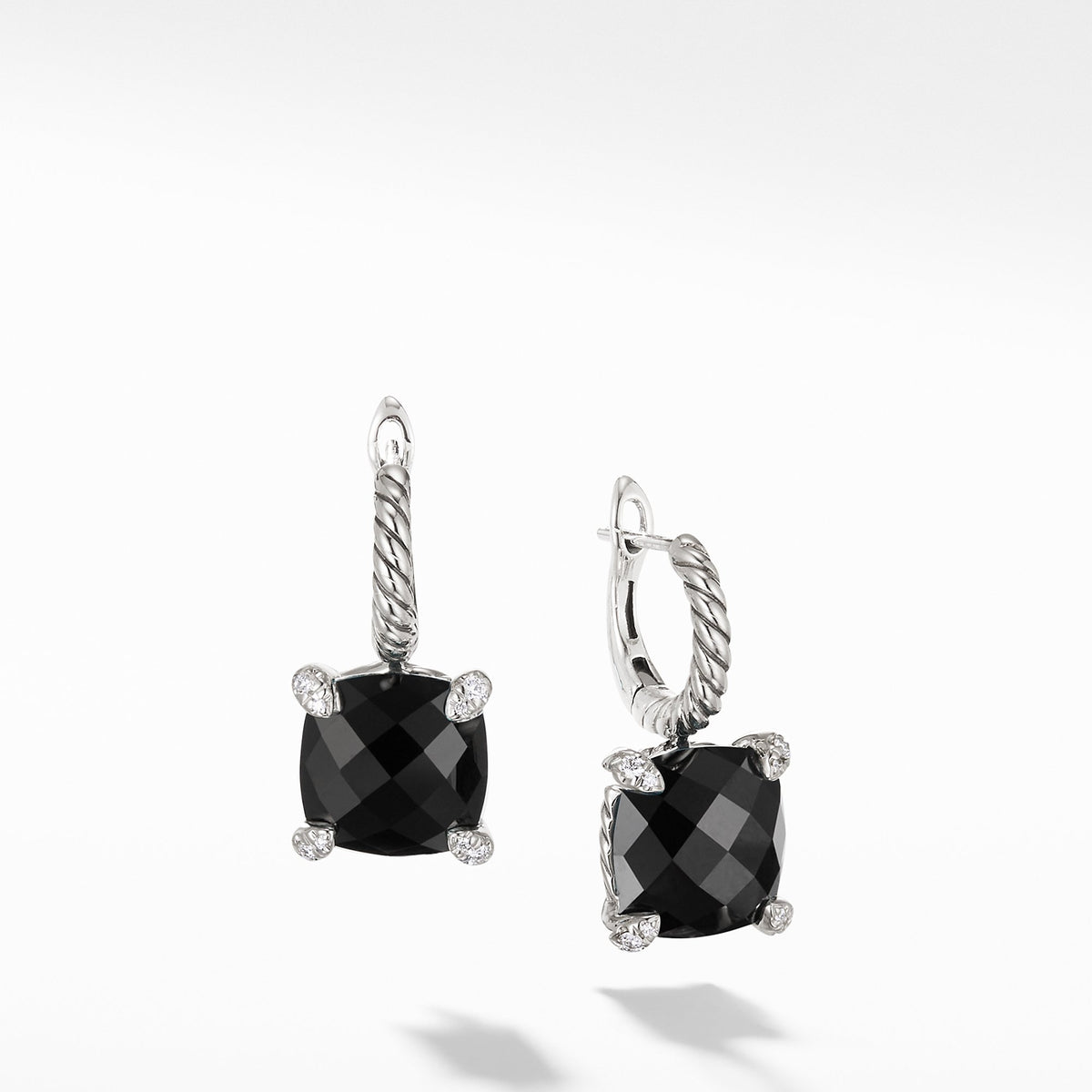Chatelaine Drop Earrings with Black Onyx and Diamonds