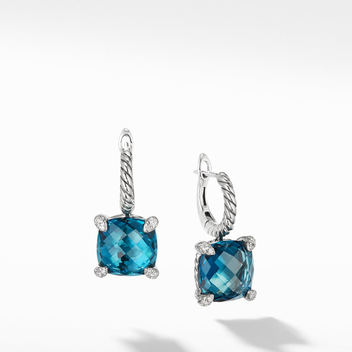 Drop Earrings with Hampton Blue Topaz and Diamonds