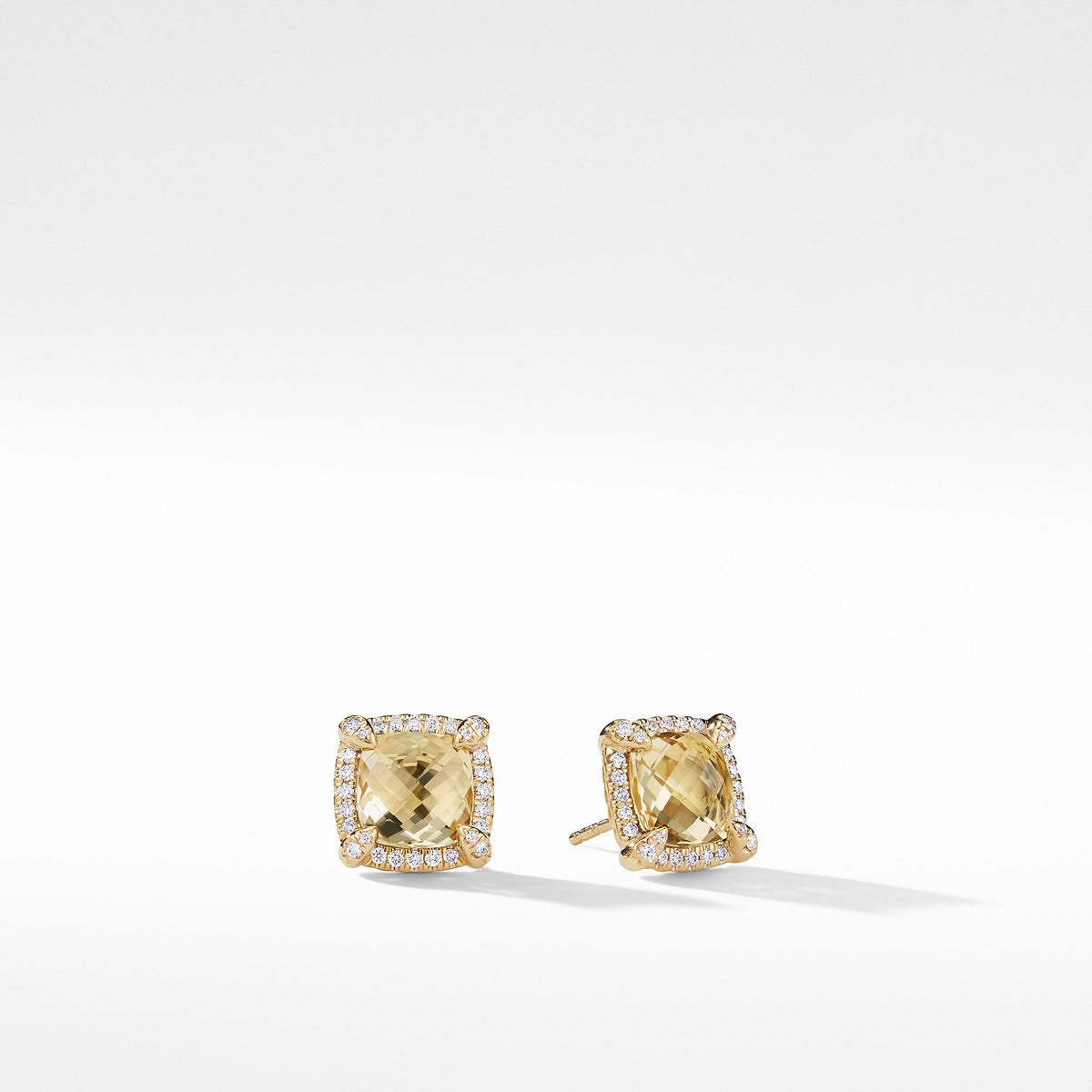 Chatelaine Pave Bezel Stud Earring with Champagne Citrine and Diamonds in 18K Gold,