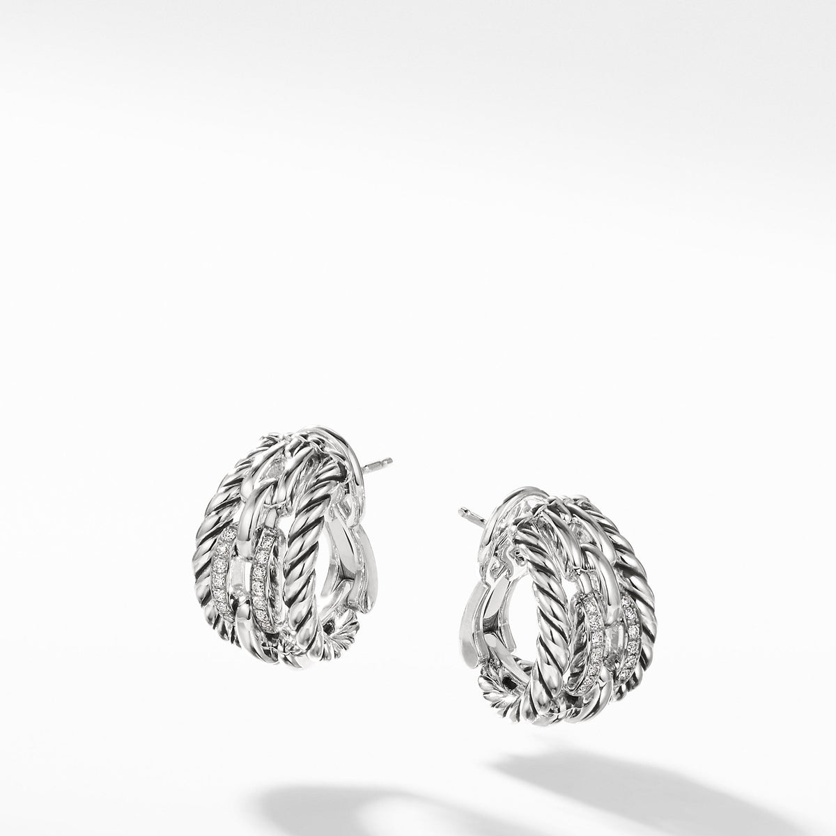 Wellesley Link Hoop Earrings with Diamonds