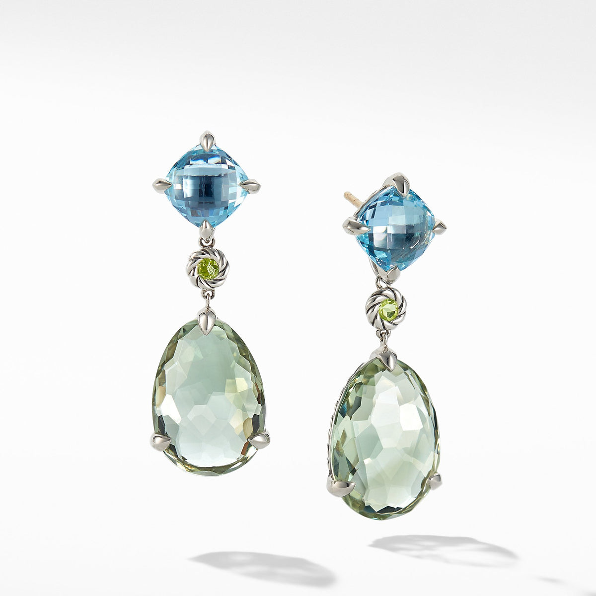 Chatelaine Drop Earrings with Prasiolite, Blue Topaz and Peridot