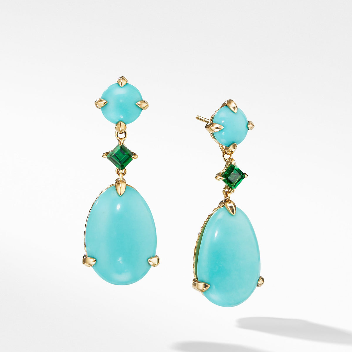 Chatelaine Drop Earrings in 18K Yellow Gold with Mexican Turquoise and Tsavorite