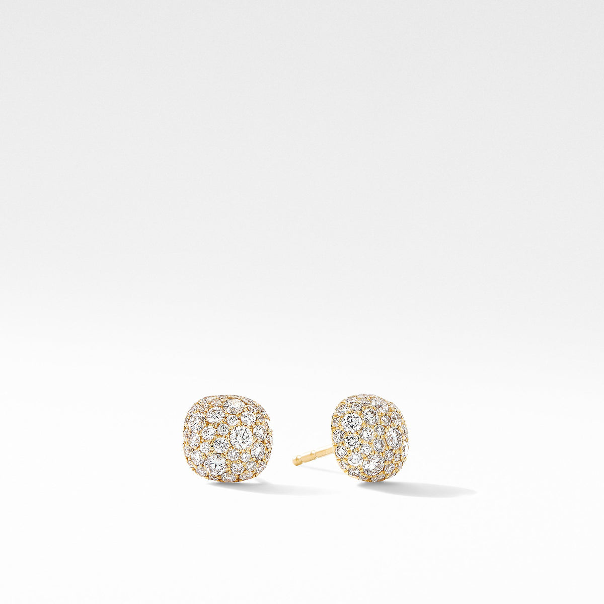 Small Cushion Stud Earrings in 18K Yellow Gold with  Pave Diamonds