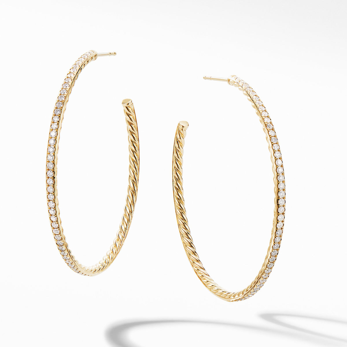 Large Hoop Earrings in 18K Yellow Gold with  Pave Diamonds