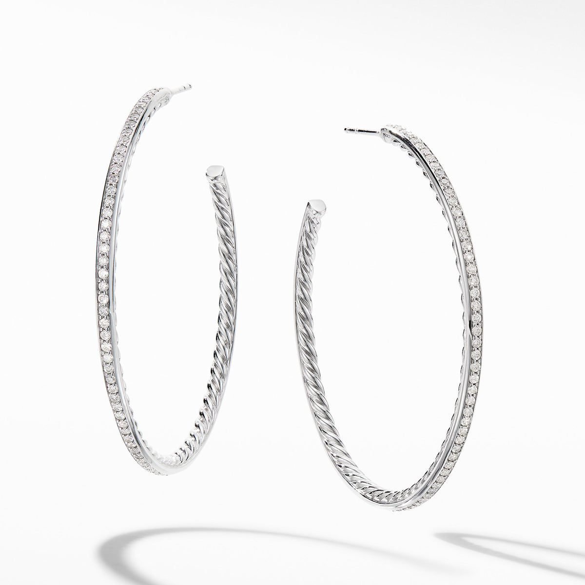 Large Hoop Earrings with  Pave Diamonds