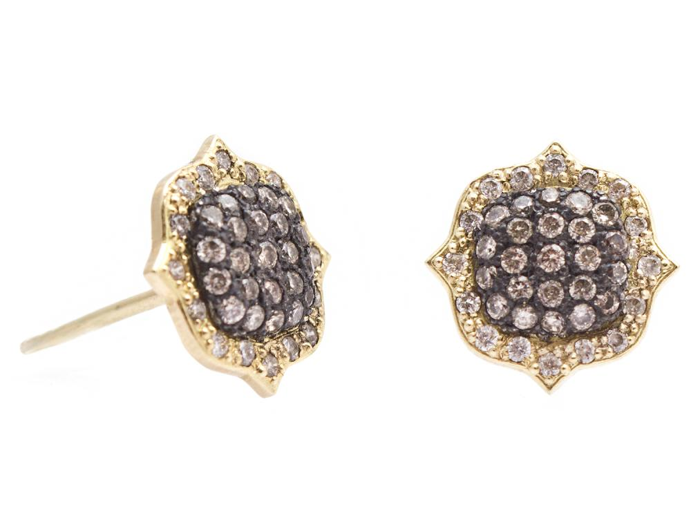 Stslvr/ Diamond Old World Stud Earrings