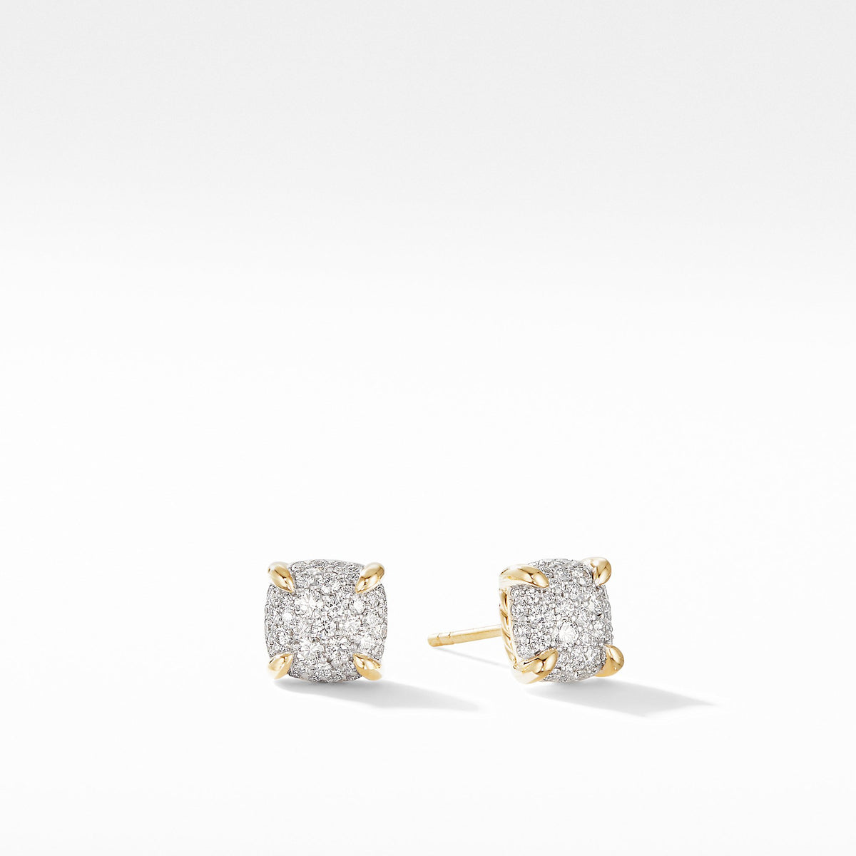 Chatelaine Stud Earrings in 18K Yellow Gold with Full  Pave Diamonds