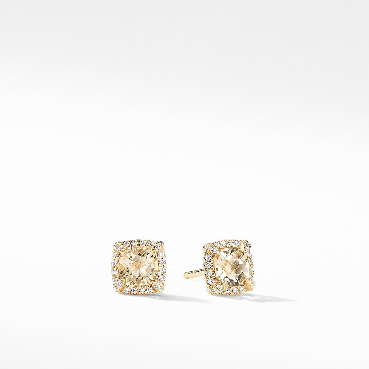 Petite Chatelaine Pave Bezel Stud Earrings in 18K Yellow Gold with Champagne Citrine