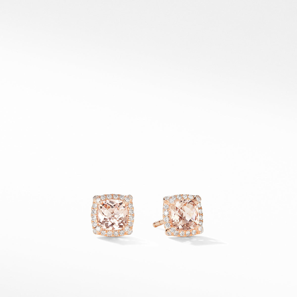 Petite Chatelaine Pave Bezel Stud Earrings in 18K Rose Gold with Morganite