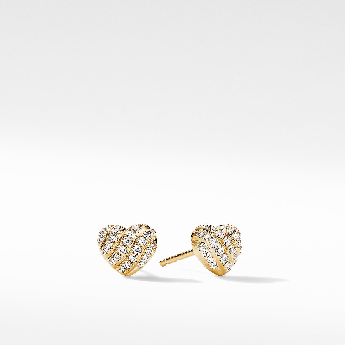 Heart Stud Earrings in 18K Yellow Gold with  Pave Diamonds