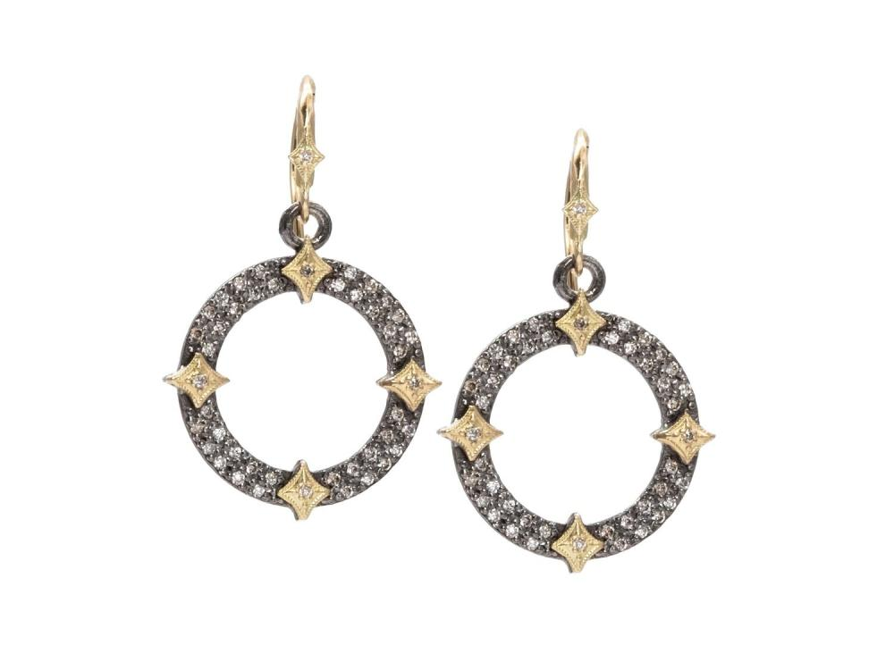 Stslvr/ Champagne Diamond Old World Circle Disc Earrings