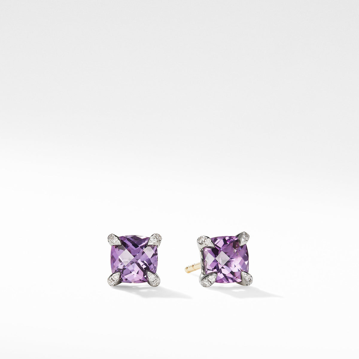 Chatelaine Stud Earrings with Amethyst and Diamonds