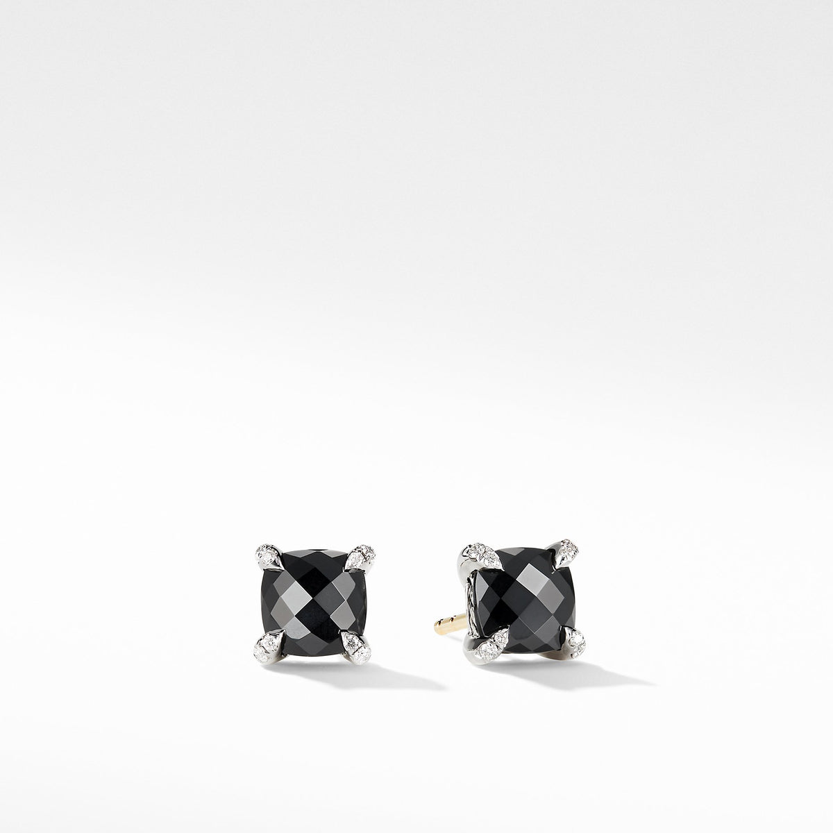 Chatelaine Stud Earrings with Black Onyx and Diamonds