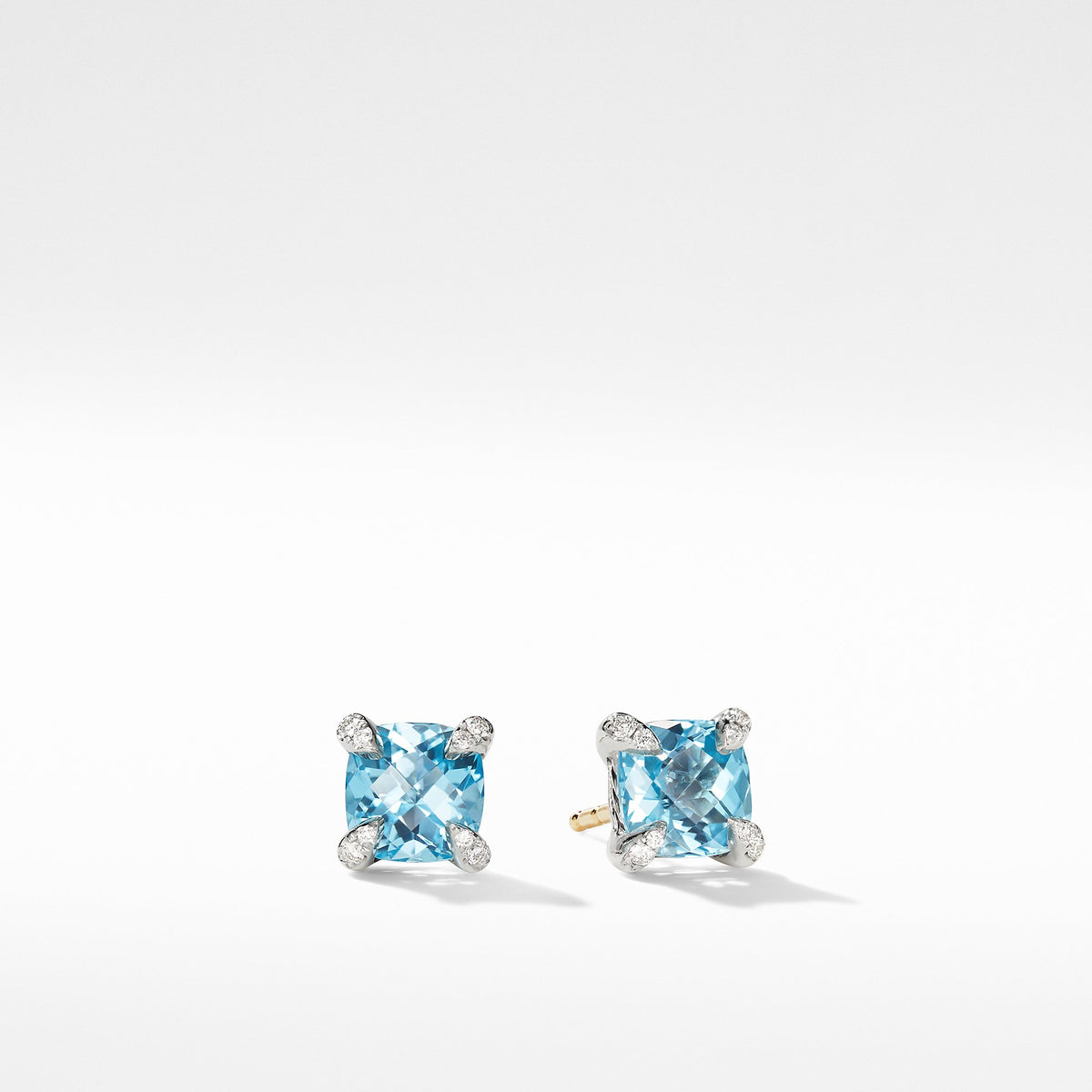 Chatelaine Stud Earrings with Blue Topaz and Diamonds
