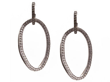 Stslvr Diamond Open Circlelink Drop Earrings