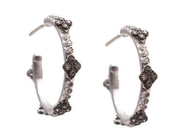 Stslvr/Blk Crivelli Hoop Earrings