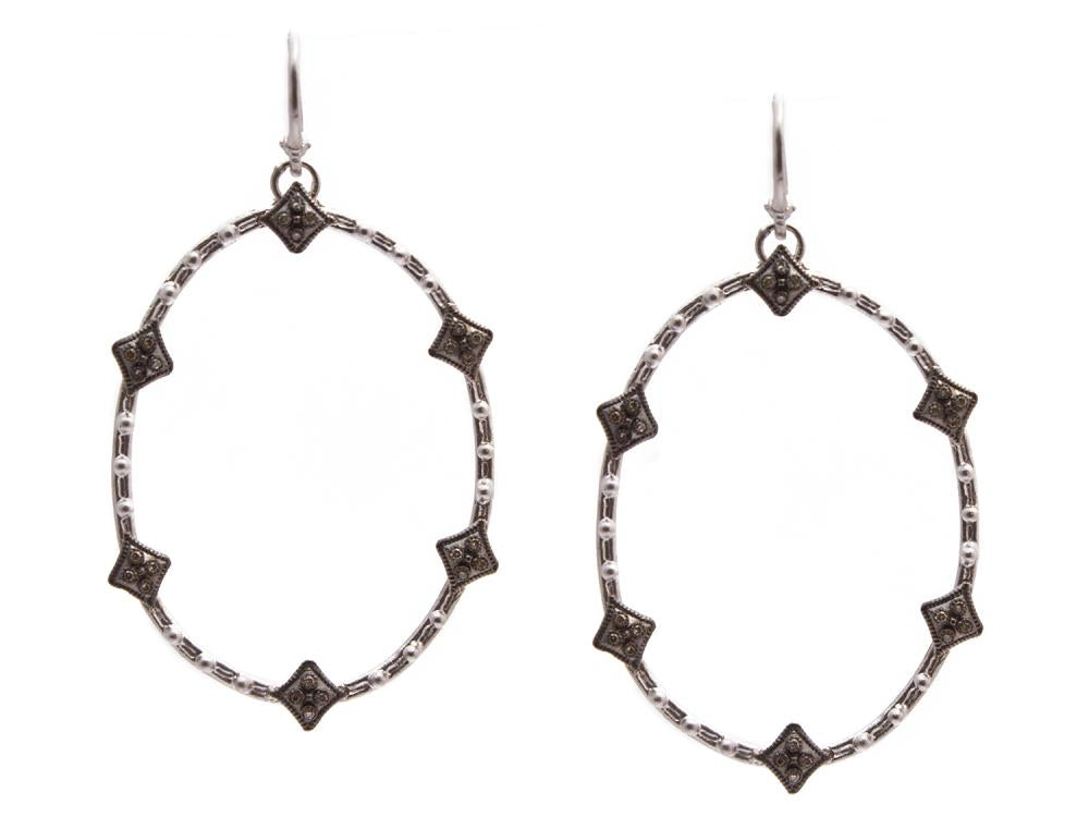 Stslvr/Blk Oval Crivelli Earrings