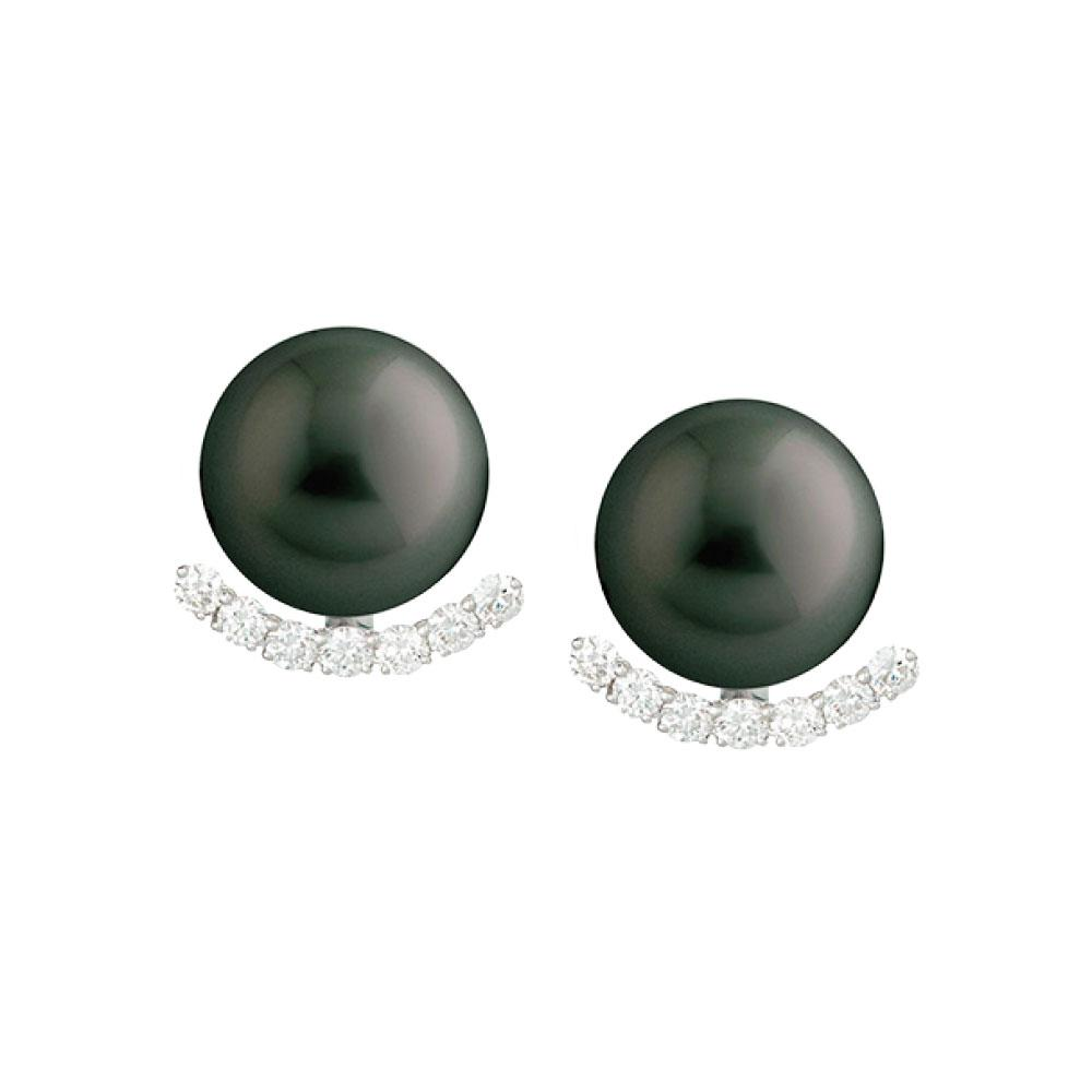 Black South Sea Pearl & Diamond Earrings