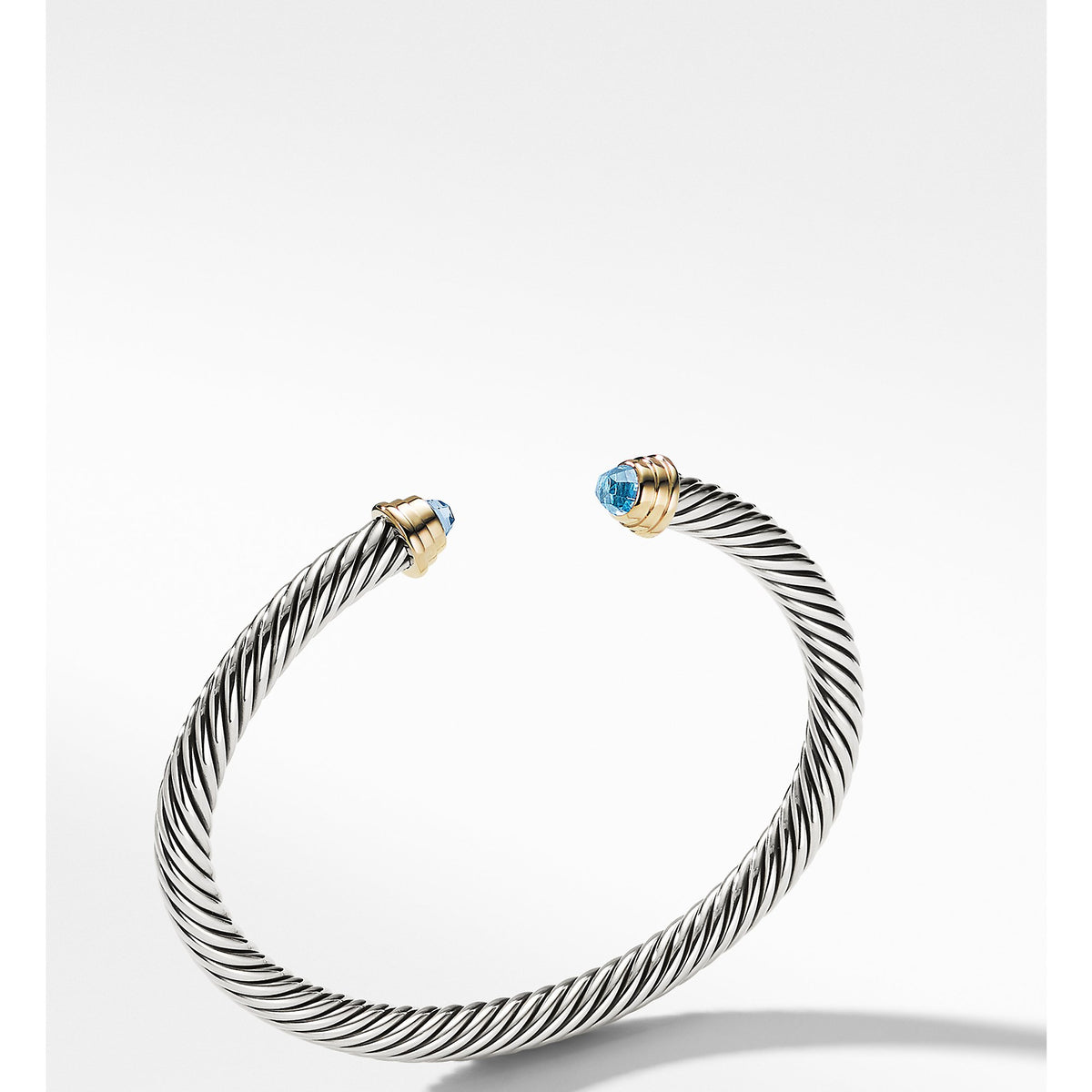 Cable Kids Birthstone Bracelet with Blue Topaz and 14K Gold, 4mm