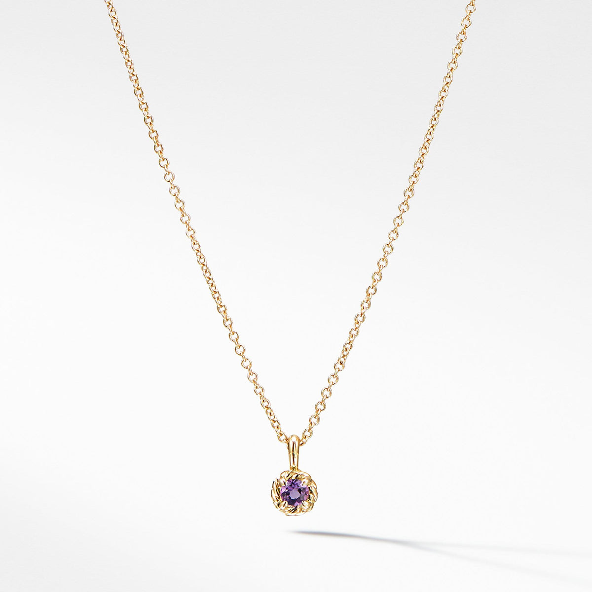 Cable Collectibles Kids Necklace Birthstone Necklace with Amethyst in 18K Gold, 3mm