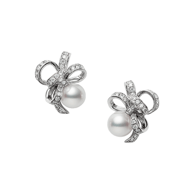 Pearl & Diamond Ribbon Earrings