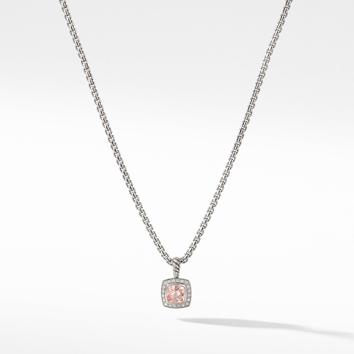 Petite Albion Pendant Necklace with Morganite and Diamonds