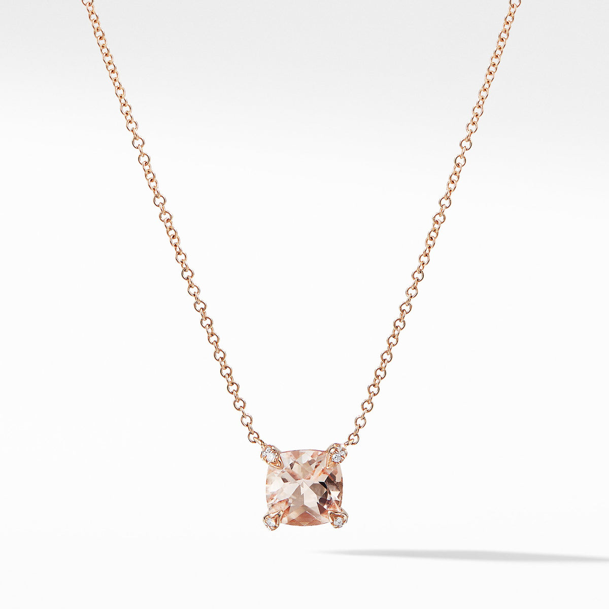 Chatelaine Pendant Necklace with Diamonds in 18K Rose Gold with Morganite
