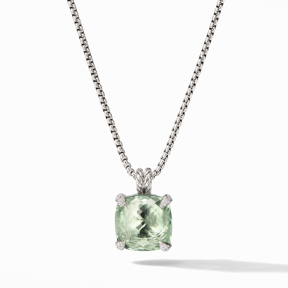 Chatelaine Pendant Necklace with Prasiolite and Diamonds