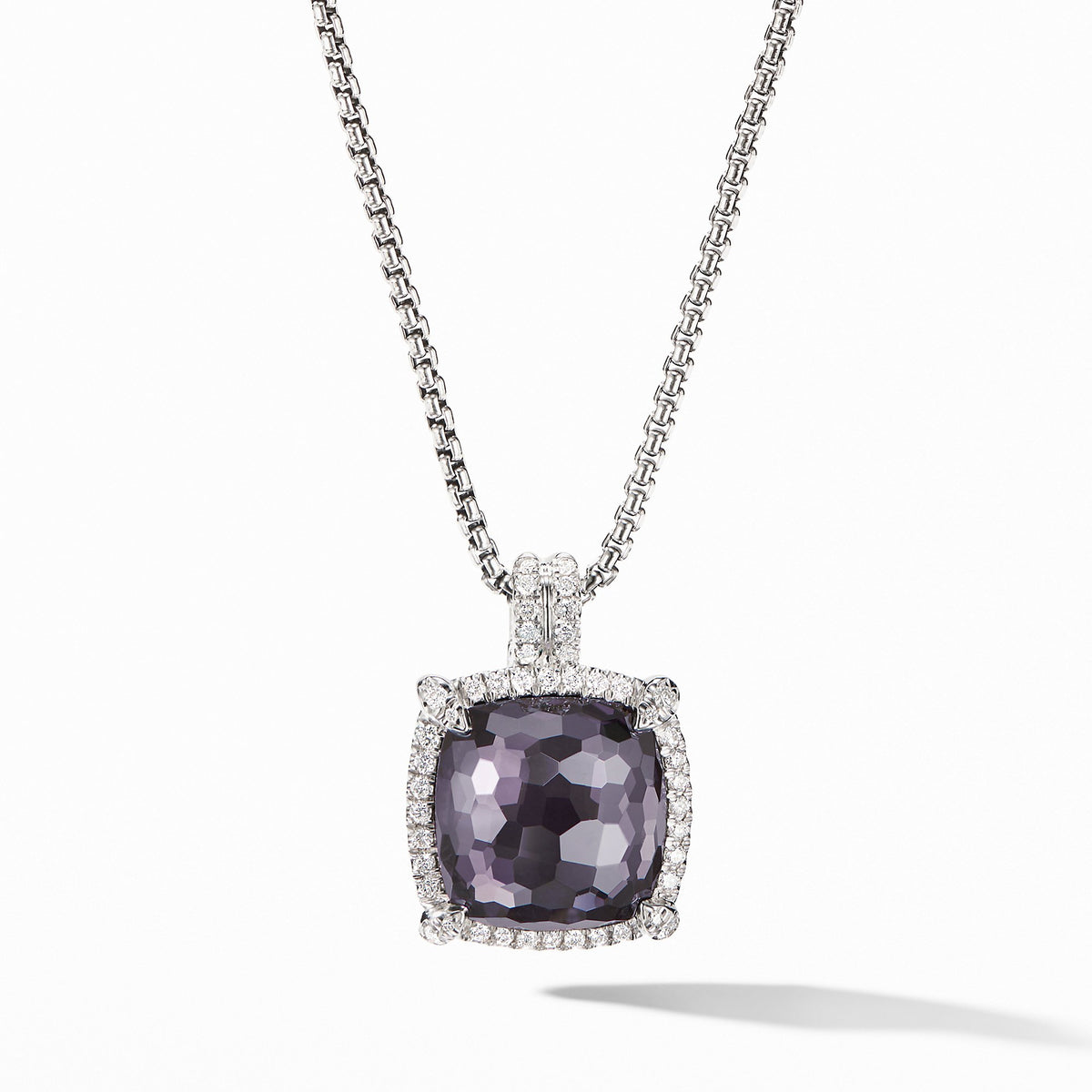 Chatelaine Pave Bezel Pendant Necklace with Black Orchid